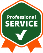 professional service badge in green and orange