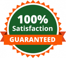100% Satisfaction Guaranteed badge in green and orange