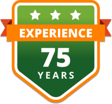 75 years of experience badge in green and orange